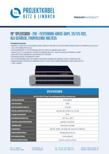 thumbnail of SPLEISSBOX – 2HE – FESTEINBAU 48XSC-DUPL E9-125 OS2, ALU, FRONTBLENDE RAL7035