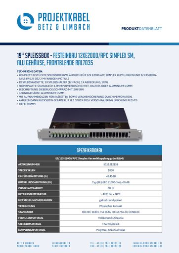 thumbnail of SPLEISSBOX – FESTEINBAU 12XE2000-APC SIMPLEX SM, ALU, FRONTBLENDE RAL7035