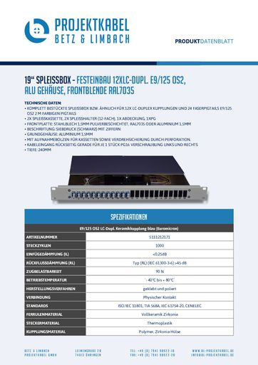 thumbnail of SPLEISSBOX – FESTEINBAU 12XLC-DUPL E9-125 OS2, ALU, FRONTBLENDE RAL7035