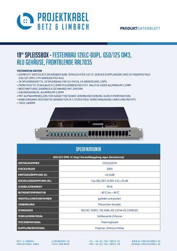 thumbnail of SPLEISSBOX – FESTEINBAU 12XLC-DUPL G50-125 OM3, ALU, FRONTBLENDE RAL7035