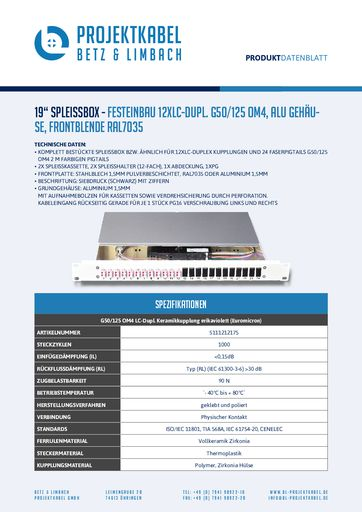 thumbnail of SPLEISSBOX – FESTEINBAU 12XLC-DUPL G50-125 OM4, ALU, FRONTBLENDE RAL7035