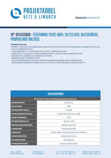 thumbnail of SPLEISSBOX – FESTEINBAU 12XSC-DUPL E9-125 OS2, ALU, FRONTBLENDE RAL7035