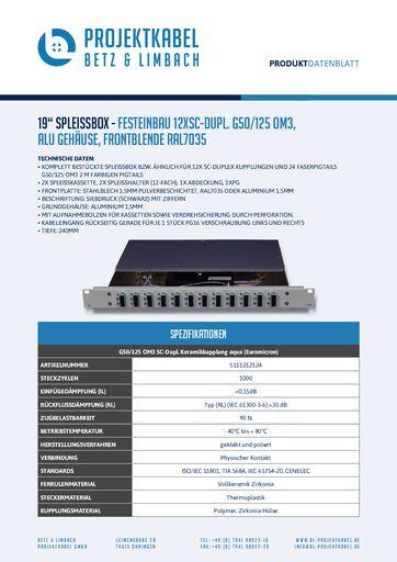 thumbnail of SPLEISSBOX – FESTEINBAU 12XSC-DUPL G50-125 OM3, ALU, FRONTBLENDE RAL7035
