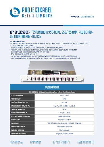 thumbnail of SPLEISSBOX – FESTEINBAU 12XSC-DUPL G50-125 OM4, ALU, FRONTBLENDE RAL7035