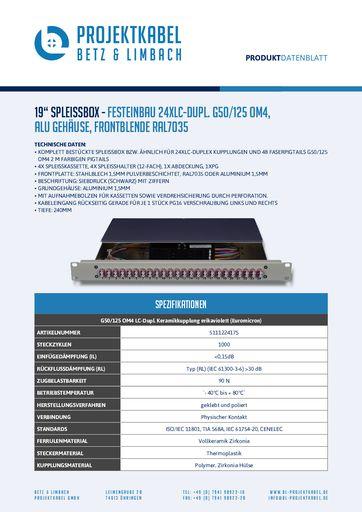 thumbnail of SPLEISSBOX – FESTEINBAU 24XLC-DUPL G50-125 OM4, ALU, FRONTBLENDE RAL7035