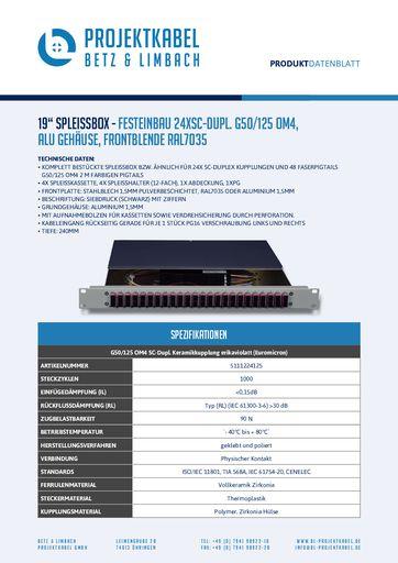 thumbnail of SPLEISSBOX – FESTEINBAU 24XSC-DUPL G50-125 OM4, ALU, FRONTBLENDE RAL7035