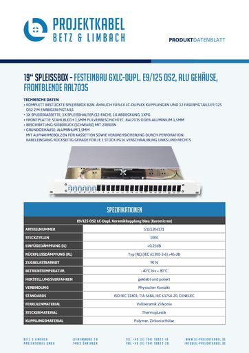 thumbnail of SPLEISSBOX – FESTEINBAU 6XLC-DUPL E9-125 OS2, ALU, FRONTBLENDE RAL7035