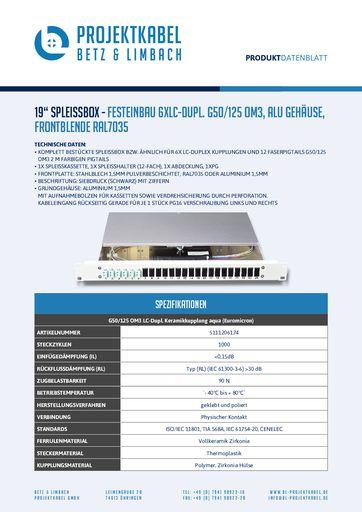 thumbnail of SPLEISSBOX – FESTEINBAU 6XLC-DUPL G50-125 OM3, ALU, FRONTBLENDE RAL7035
