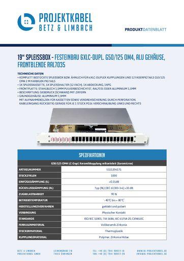 thumbnail of SPLEISSBOX – FESTEINBAU 6XLC-DUPL G50-125 OM4, ALU, FRONTBLENDE RAL7035