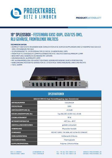 thumbnail of SPLEISSBOX – FESTEINBAU 6XSC-DUPL G50-125 OM3, ALU, FRONTBLENDE RAL7035