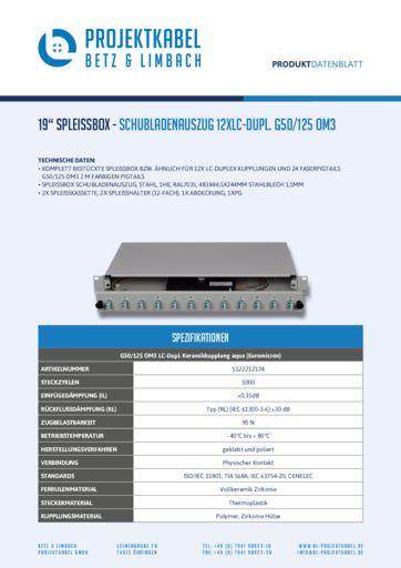 thumbnail of SPLEISSBOX – SCHUBLADENAUSZUG 12XLC-DUPL G50-125 OM3