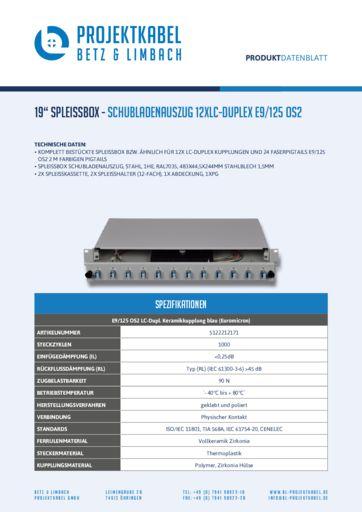 thumbnail of SPLEISSBOX – SCHUBLADENAUSZUG 12XLC-DUPLEX E9-125 OS2