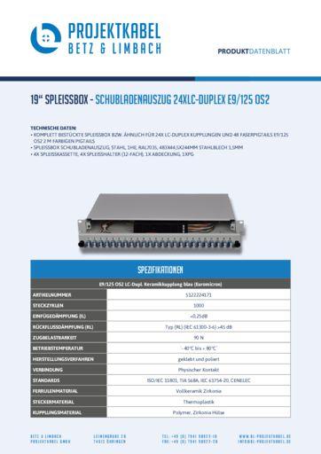 thumbnail of SPLEISSBOX – SCHUBLADENAUSZUG 24XLC-DUPLEX E9-125 OS2
