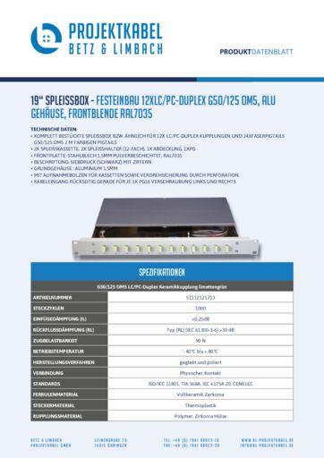 "thumbnail of 19"" Spleissbox – FESTEINBAU 12XLC:PC-DUPLEX G50:125 OM5, Alu Gehäuse, Frontblende RAL7035"