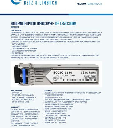 thumbnail of BO05C13610 – Singlemode Optical Transceiver – SFP 1.25G 1310nm