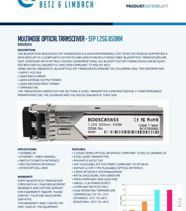 thumbnail of BO05C856S5 – Multimode Optical Transceiver – SFP 1.25G 850nm